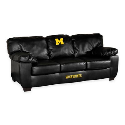 University of Michigan Black Leather Classic Sofa