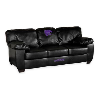Kansas State University Black Leather Classic Sofa
