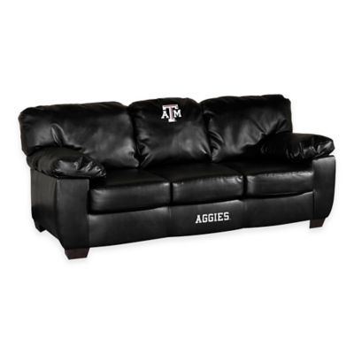 Texas A&M University Black Leather Classic Sofa