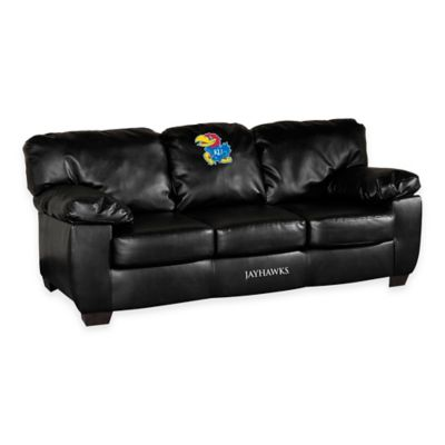 Kansas University Black Leather Classic Sofa
