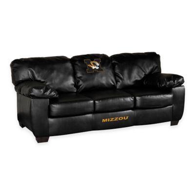 University of Missouri Black Leather Classic Sofa