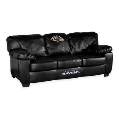 NFL Baltimore Ravens Black Leather Classic Sofa