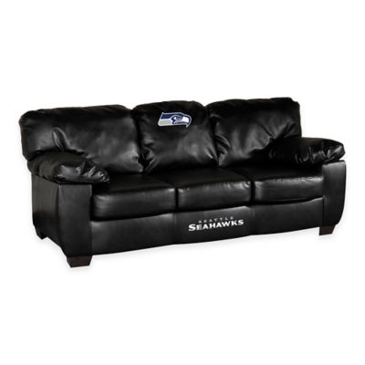 NFL Seattle Seahawks Black Leather Classic Sofa