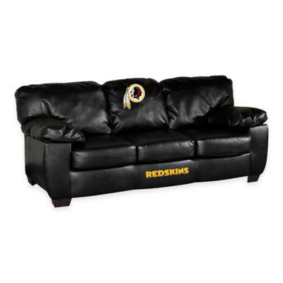 NFL Washington Redskins Black Leather Classic Sofa