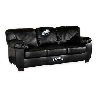 NFL Philadelphia Eagles Black Leather Classic Sofa