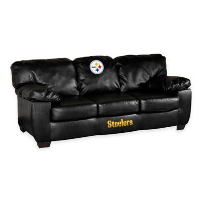 NFL Pittsburgh Steelers Black Leather Classic Sofa