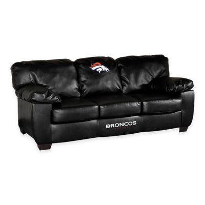 NFL Denver Broncos Black Leather Classic Sofa