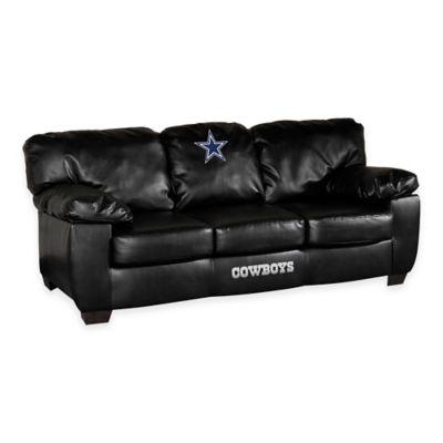 NFL Dallas Cowboys Black Leather Classic Sofa