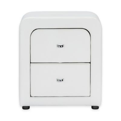 Baxton Studio Bourbon Upholstered Nightstand in White