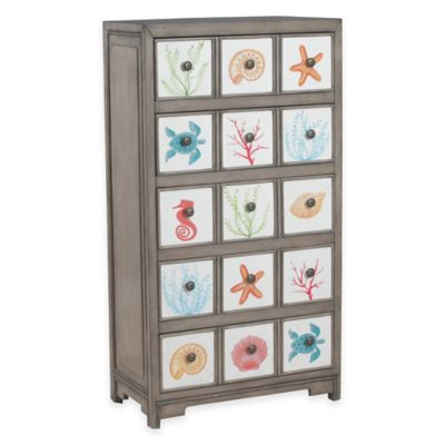 Calabash 5-Drawer Storage Cabinet with Sea Life Print