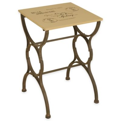 """Post Card"" Stamped End Table in Cream"
