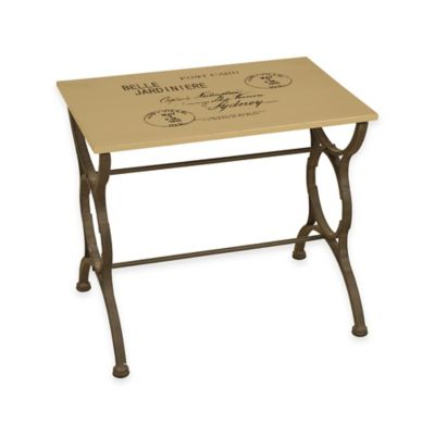 """""""Post Card"""" Stamped Side Table in Cream"""