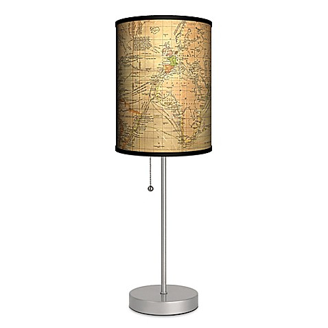buy vintage world map table lamp with matte silver base and cfl bulb. Black Bedroom Furniture Sets. Home Design Ideas
