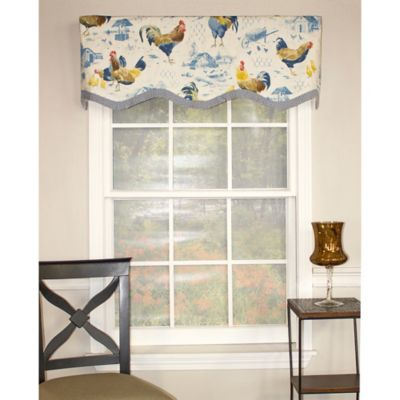 RL Fisher Rooster Strut Provance Window Valance in Blue