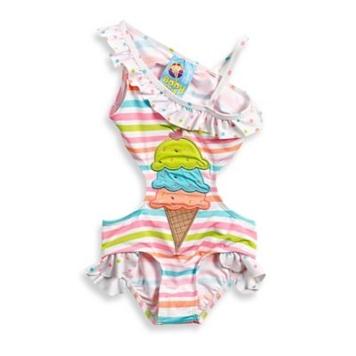 Baby Buns Size 9M 1-Piece Ice Cream Belly Swimsuit in Multicolor