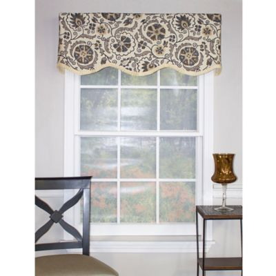 RL Fisher Cerque Ruffled Provance Cornice Window Valance in Ash