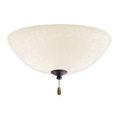 Emerson White Linen Bowl Light Kit for Ceiling Fan in Distressed Bronze
