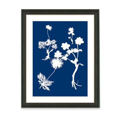 Framed Giclee Blue Nature Silhouette Print Wall Art IV
