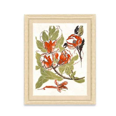 Framed Giclee Stylized Red Flower Print Wall Art II