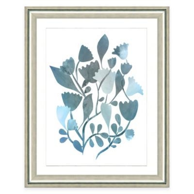 Framed Giclee Blue Botanical Watercolor Print Wall Art I