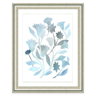 Framed Giclee Blue Botanical Watercolor Print Wall Art II