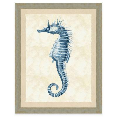 Blue Seahorse Print I Giclée Framed Wall Art
