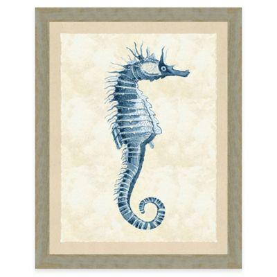 Blue Seahorse Print II Giclée Framed Wall Art