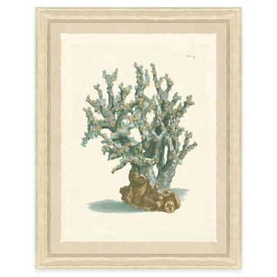 Teal Coral Print I Giclée Framed Wall Art