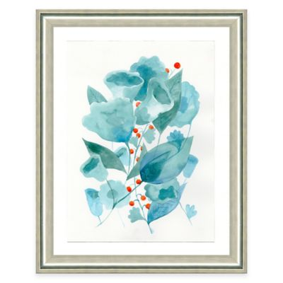 Framed Giclee Blue Watercolor Flower Print Wall Art