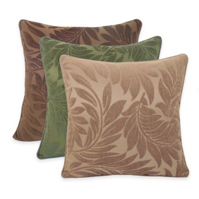 Arlee Home Fashions® Alessandra Chenille Jacquard Leaves Throw Pillow in Olive (Set of 2)
