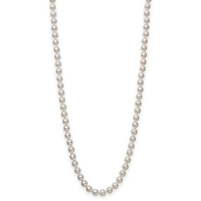 8.0-8.5mm Akoya Freshwater Cultured Pearl 24-Inch Strand Necklace with 18K White Gold Clasp