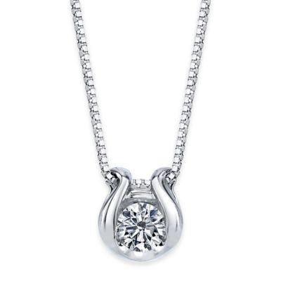 Sirena® Collection 14K White Gold .08 cttw Bezel-Set Diamond 18-Inch Chain Pendant Necklace