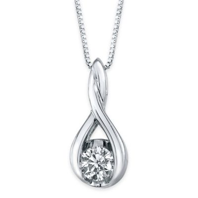 Sirena® Collection 14K White Gold 1/12 cttw Diamond Twisted Teardrop 18-Inch Pendant Necklace