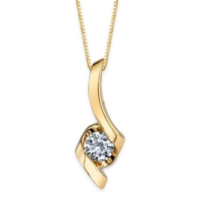 Sirena® Collection 14K Yellow Gold .375 cttw Diamond Curved Solitaire Pendant Necklace