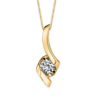 Sirena® Collection 14K Yellow Gold Diamond 18-Inch Chain Curved Solitaire Pendant Necklace