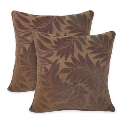 Arlee Home Fashions® Alessandra Chenille Jacquard Leaves Throw Pillow in Chocolate (Set of 2)