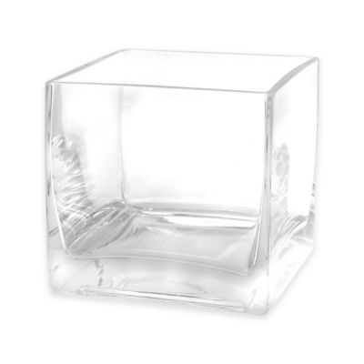 Glass Cube Vase and Candle Holder