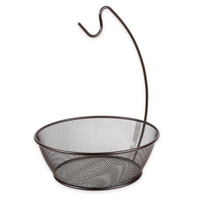 Seville Classics Metal Mesh Fruit Bowl with Banana Hook in Bronze