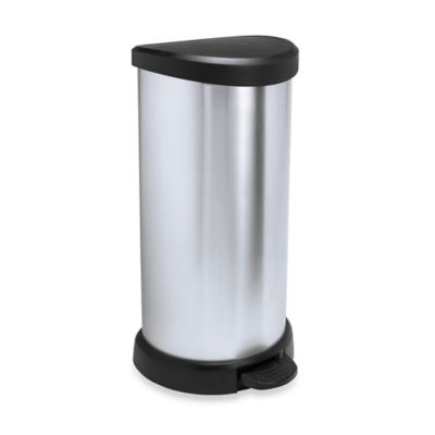 40-Liter Metallic Trash Can in Silver