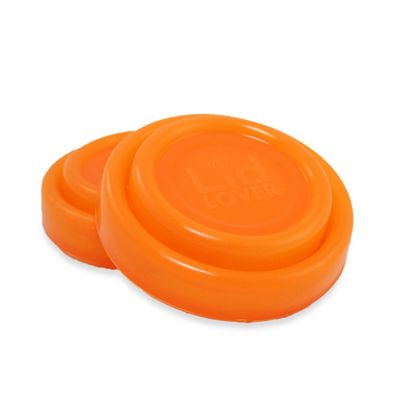 Silicone Mini Stretchable Jar Lids in Orange (Set of 2)