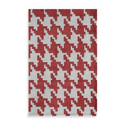 Jourdan Houndstooth 5-Foot x 8-Foot Area Rug in Red