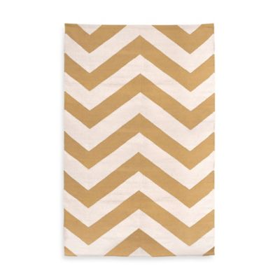 Fab Habitat Lexington Chevron 2-Foot x 3-Foot Accent Rug in Beige/White