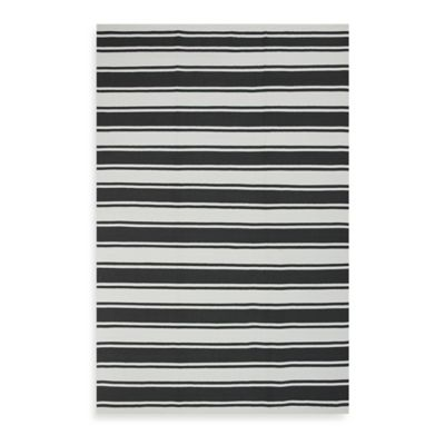Fab Habitat Lucky Stripe 3-Foot x 5-Foot Indoor/Outdoor Area Rug in Grey/White