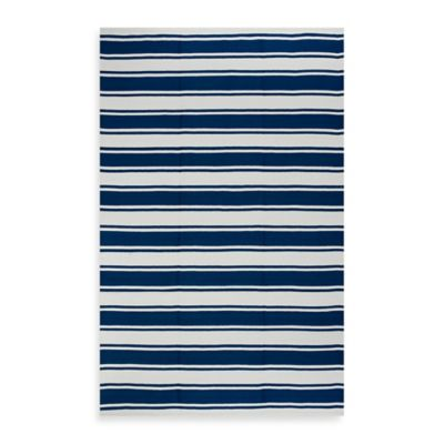 Fab Habitat Lucky Stripe 2-Foot 6-Inch x 8-Foot Indoor/Outdoor Runner in Blue/White