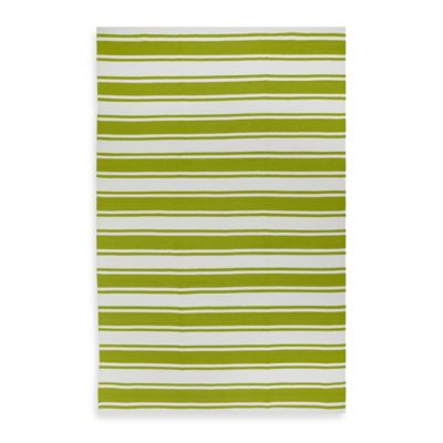 Fab Habitat Lucky Stripe 8-Foot x 10-Foot Indoor/Outdoor Area Rug in Yellow/White