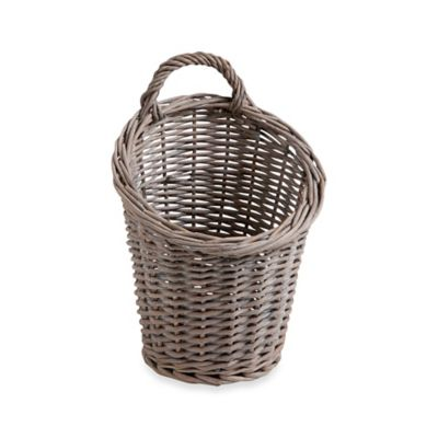 Hanging Willow Garlic Basket in Grey