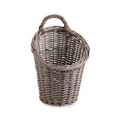 Hanging Willow Garlic Basket in Grey