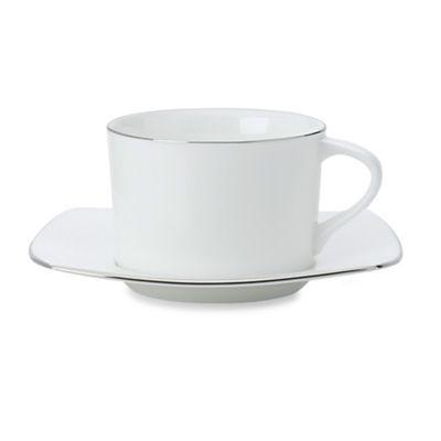 White Platinum Teacup and Saucer