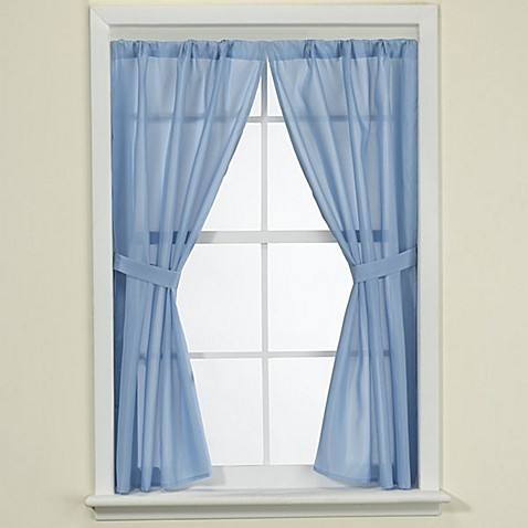 Fabric bath window curtain bed bath beyond for Bathroom window curtains