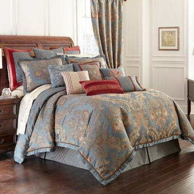 Waterford® Linens Dunham Reversible Queen Duvet Cover in Glacier